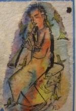 Der Flötenspieler  (Aquarell 17, nicht datiert)